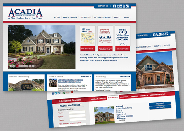 New acadia homes website launches atlanta web print for Acadia home builders