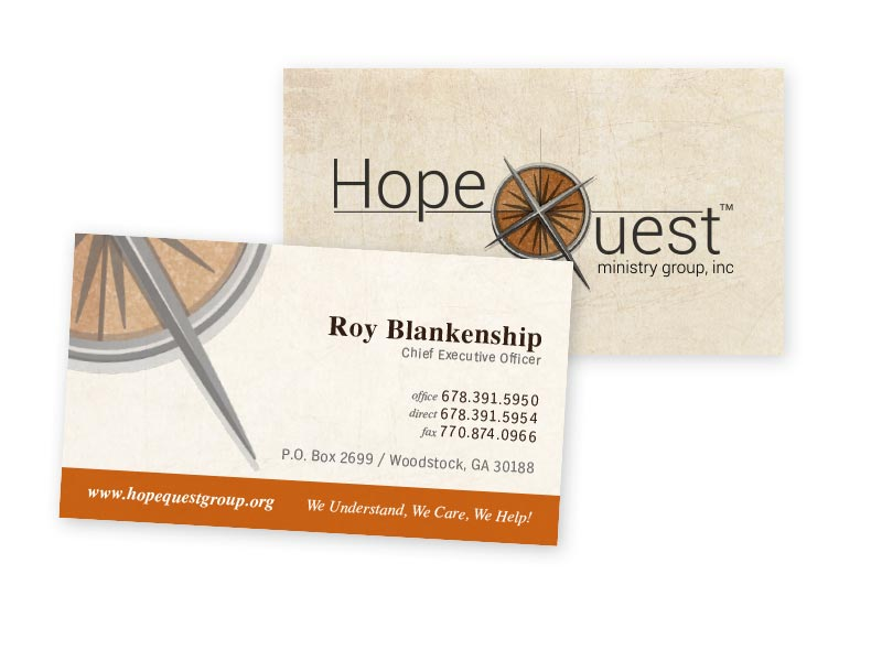 Hopequest ministry group rearview advertising website for Ministry business cards