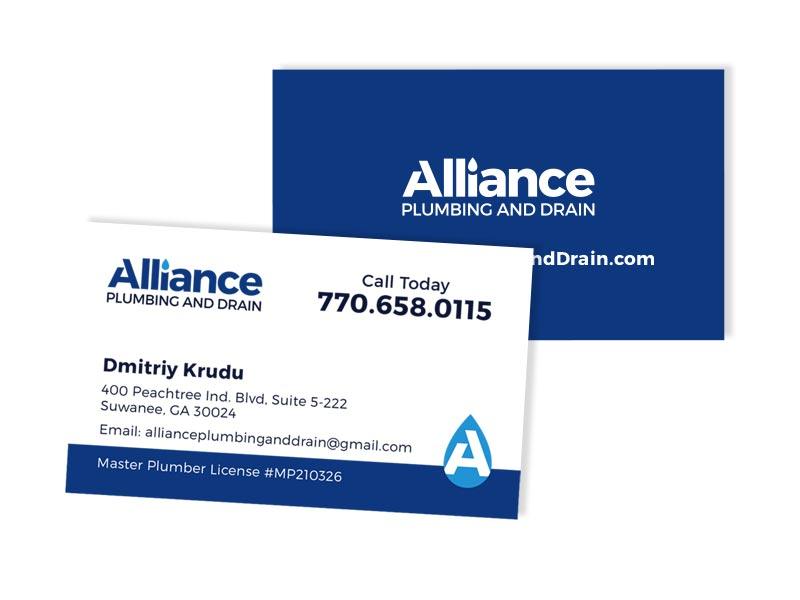 Alliance Plumbing and Drain Business Card - Atlanta Web, Print ...