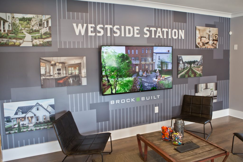 Sales Center Wall at Brock Built's Westside Station