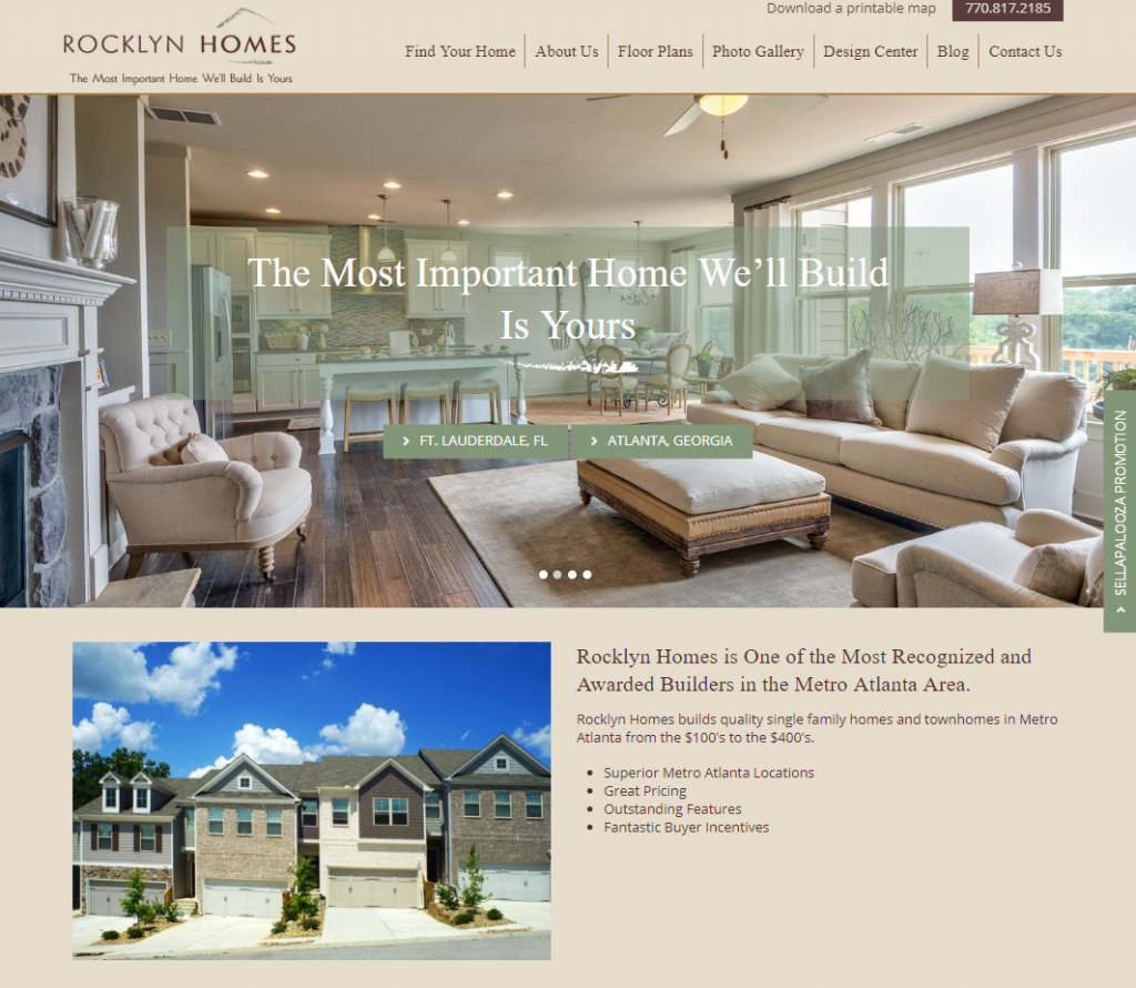 Rocklyn Homes' new award-winning website