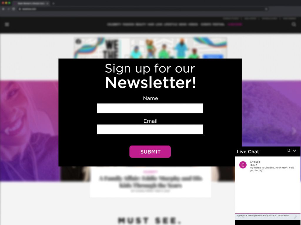 annoying newsletter popups can cause high bounce rates