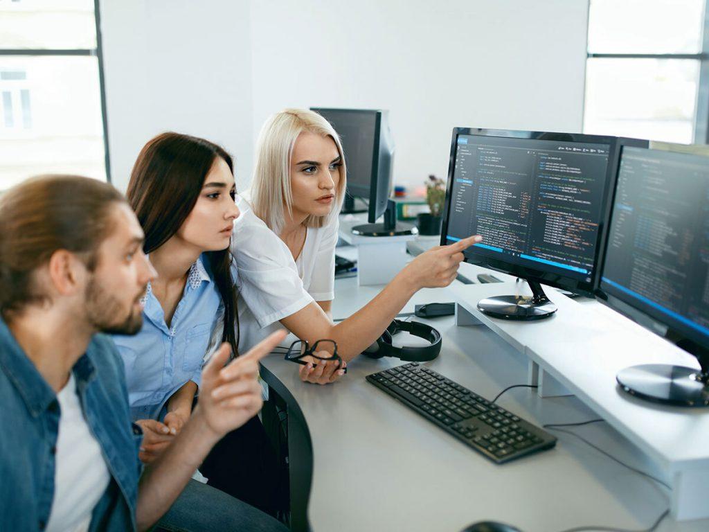 a team analyzing a website